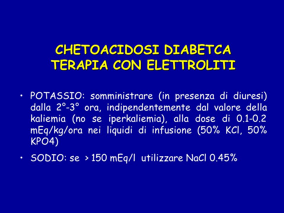 CHETOACIDOSI DIABETCA TERAPIA CON ELETTROLITI