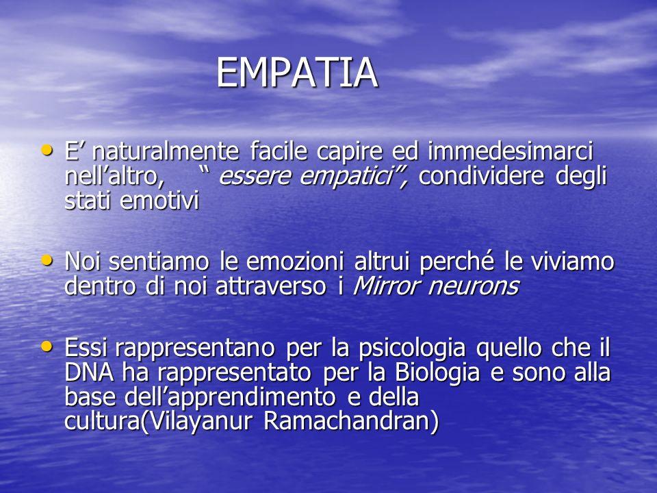 EMPATIA E' naturalmente facile capire ed immedesimarci nell'altro, essere empatici , condividere degli stati emotivi.