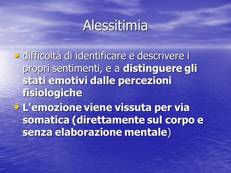 Alessitimia difficoltà di identificare e descrivere i propri sentimenti, e a distinguere gli stati emotivi dalle percezioni fisiologiche.
