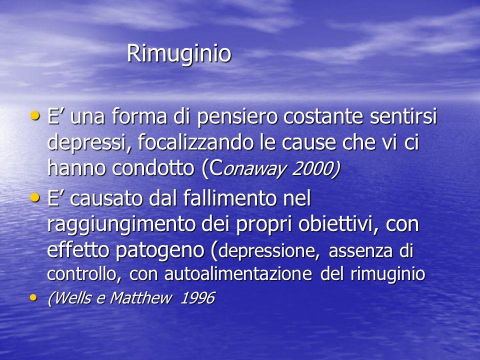 Rimuginio E' una forma di pensiero costante sentirsi depressi, focalizzando le cause che vi ci hanno condotto (Conaway 2000)