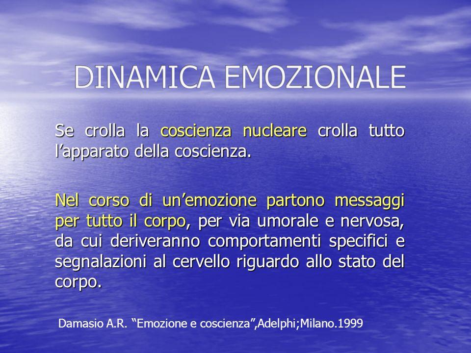 DINAMICA EMOZIONALE Se crolla la coscienza nucleare crolla tutto l'apparato della coscienza.