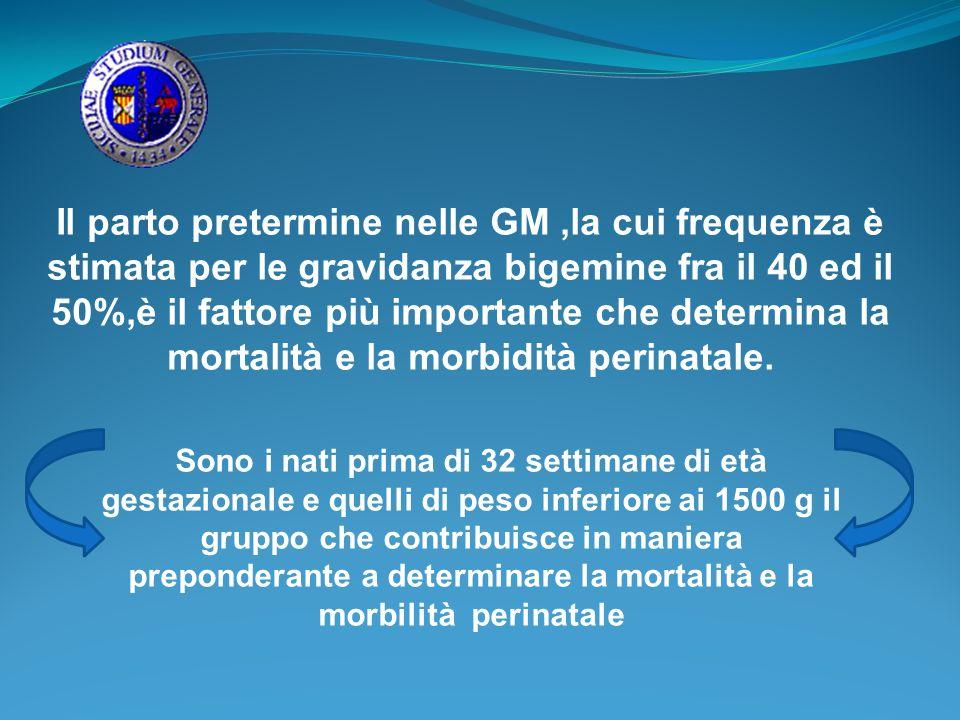 Il parto pretermine nelle GM ,la cui frequenza è stimata per le gravidanza bigemine fra il 40 ed il 50%,è il fattore più importante che determina la mortalità e la morbidità perinatale.