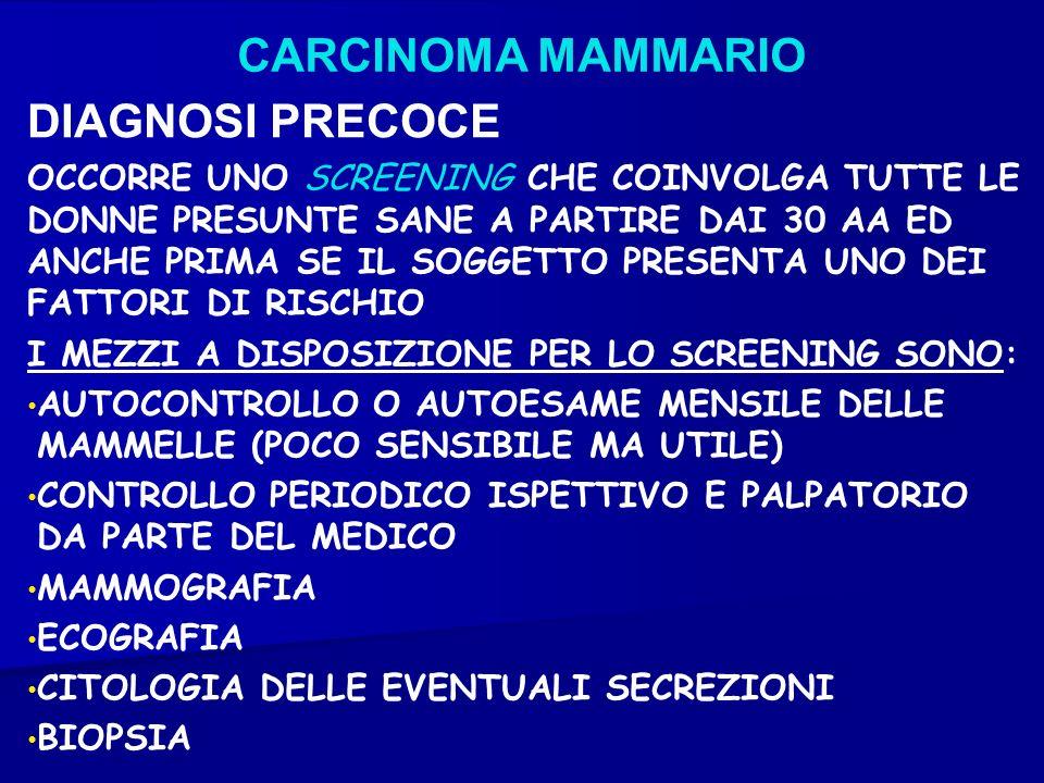 CARCINOMA MAMMARIO DIAGNOSI PRECOCE