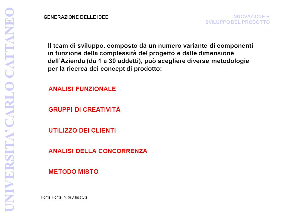 UNIVERSITA' CARLO CATTANEO