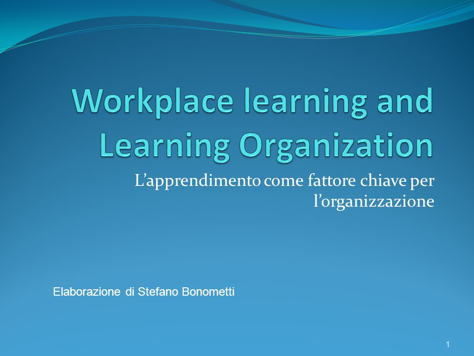Workplace learning and Learning Organization