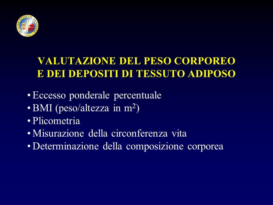 VALUTAZIONE DEL PESO CORPOREO E DEI DEPOSITI DI TESSUTO ADIPOSO