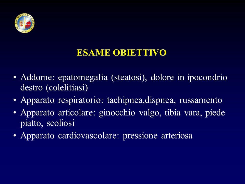 ESAME OBIETTIVO Addome: epatomegalia (steatosi), dolore in ipocondrio destro (colelitiasi) Apparato respiratorio: tachipnea,dispnea, russamento.