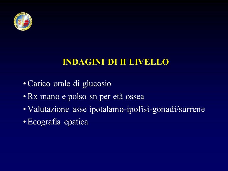 INDAGINI DI II LIVELLO Carico orale di glucosio. Rx mano e polso sn per età ossea. Valutazione asse ipotalamo-ipofisi-gonadi/surrene.