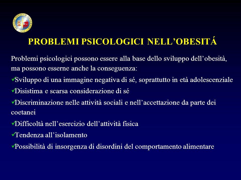 PROBLEMI PSICOLOGICI NELL'OBESITÁ