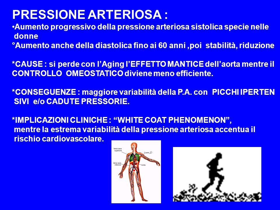 PRESSIONE ARTERIOSA : Aumento progressivo della pressione arteriosa sistolica specie nelle. donne.
