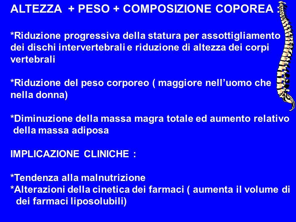 ALTEZZA + PESO + COMPOSIZIONE COPOREA :