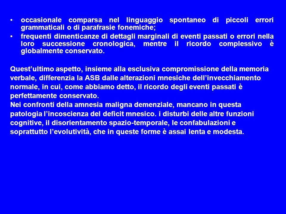 occasionale comparsa nel linguaggio spontaneo di piccoli errori grammaticali o di parafrasie fonemiche;