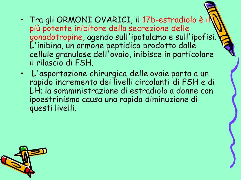 Tra gli ORMONI OVARICI, il 17b-estradiolo è il più potente inibitore della secrezione delle gonadotropine, agendo sull ipotalamo e sull ipofisi. L inibina, un ormone peptidico prodotto dalle cellule granulose dell ovaio, inibisce in particolare il rilascio di FSH.