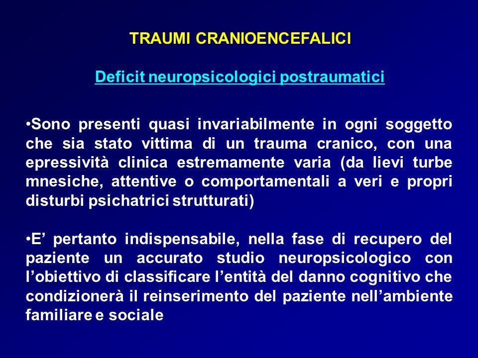 TRAUMI CRANIOENCEFALICI Deficit neuropsicologici postraumatici