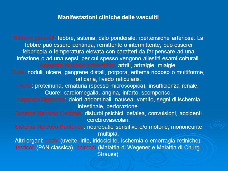 Manifestazioni cliniche delle vasculiti