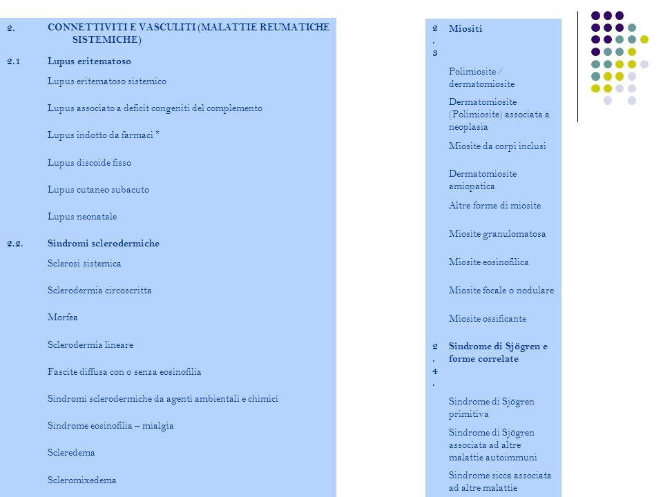 2. CONNETTIVITI E VASCULITI (MALATTIE REUMATICHE SISTEMICHE) 2.1