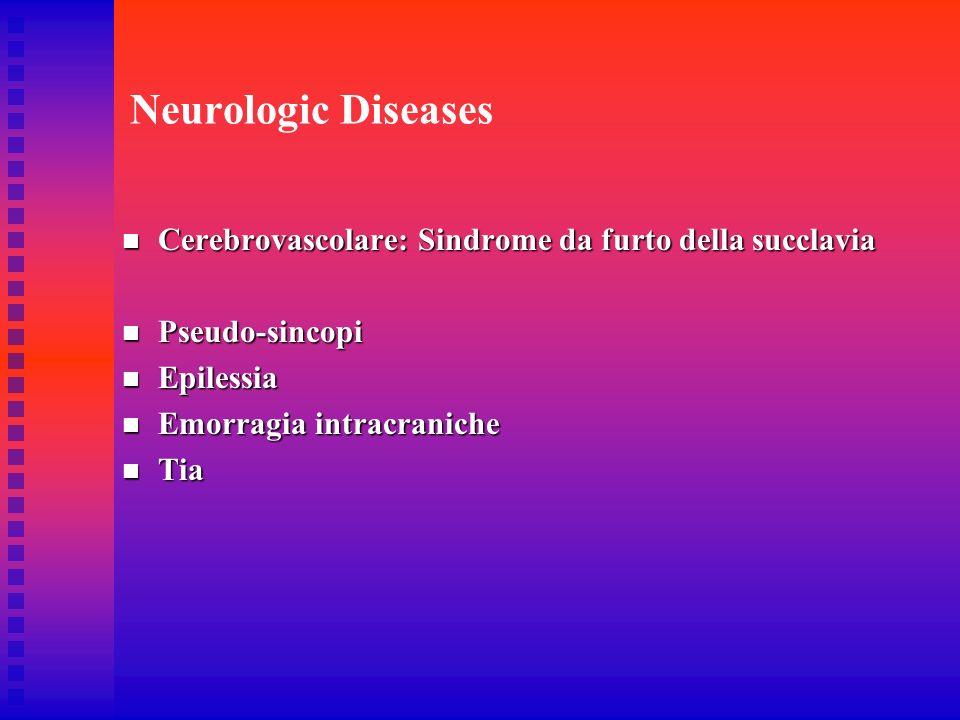 Neurologic DiseasesCerebrovascolare: Sindrome da furto della succlavia. Pseudo-sincopi. Epilessia. Emorragia intracraniche.