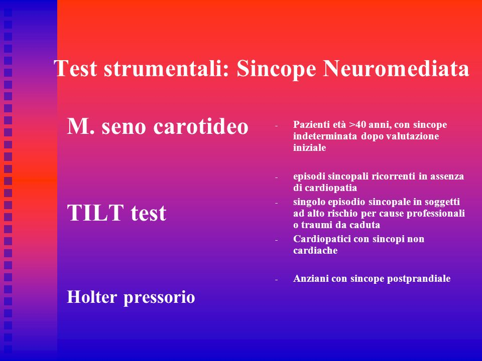 Test strumentali: Sincope Neuromediata