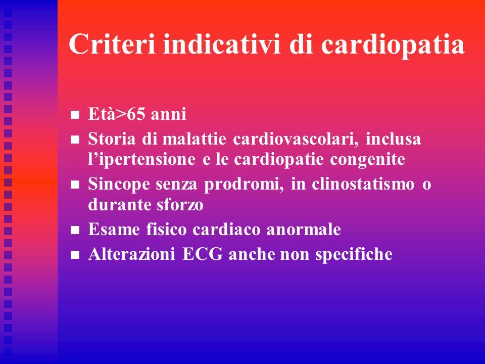Criteri indicativi di cardiopatia