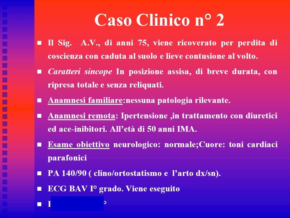 Caso Clinico n° 2Il Sig. A.V., di anni 75, viene ricoverato per perdita di coscienza con caduta al suolo e lieve contusione al volto.