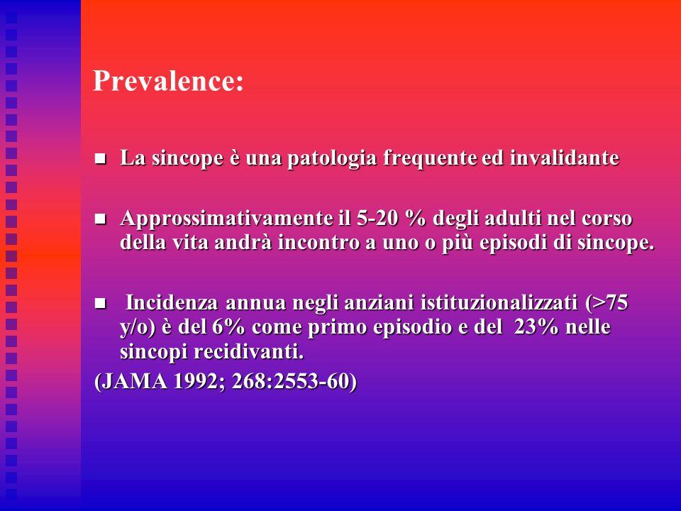 Prevalence: La sincope è una patologia frequente ed invalidante