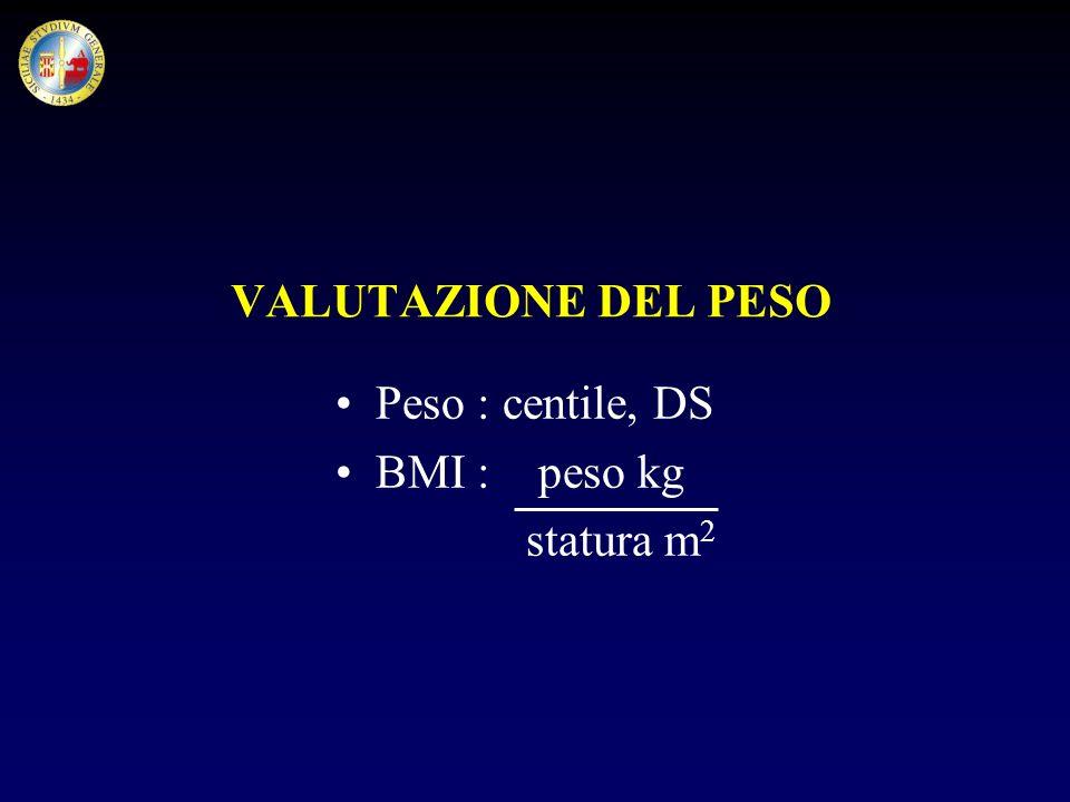 VALUTAZIONE DEL PESO Peso : centile, DS BMI : peso kg statura m2
