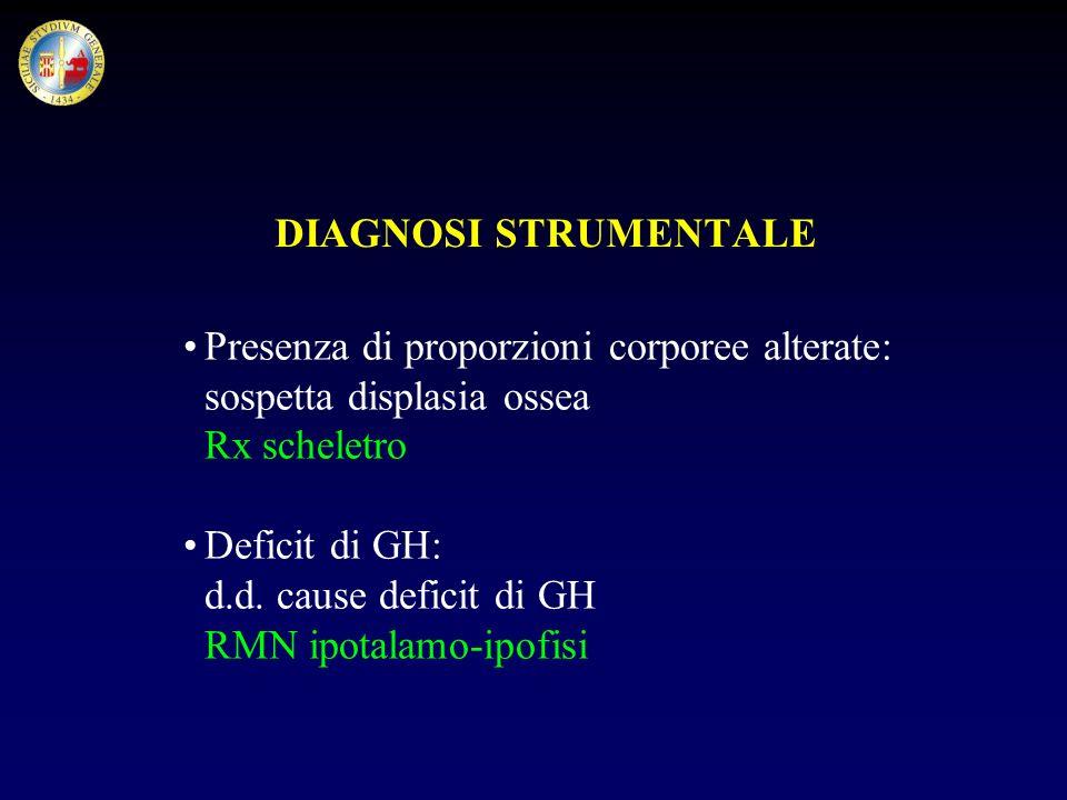 DIAGNOSI STRUMENTALE Presenza di proporzioni corporee alterate: sospetta displasia ossea. Rx scheletro.