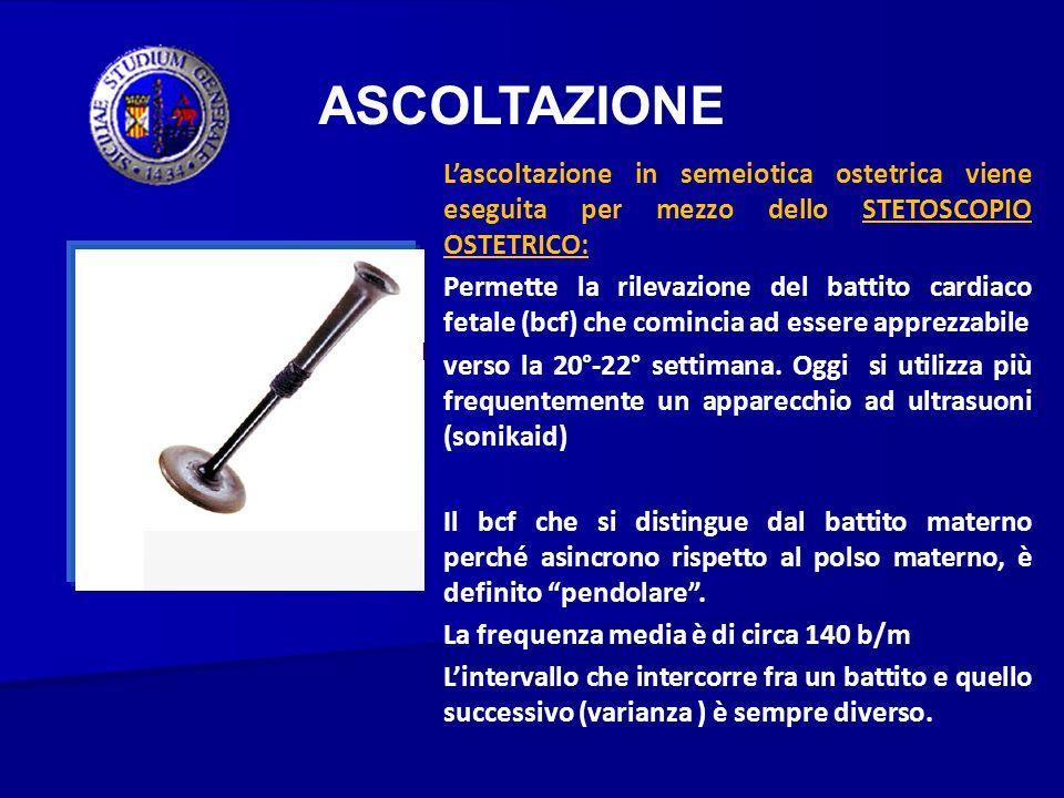ASCOLTAZIONE L'ascoltazione in semeiotica ostetrica viene eseguita per mezzo dello STETOSCOPIO OSTETRICO: