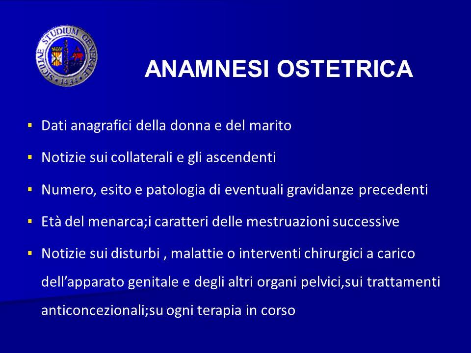 ANAMNESI OSTETRICA Dati anagrafici della donna e del marito