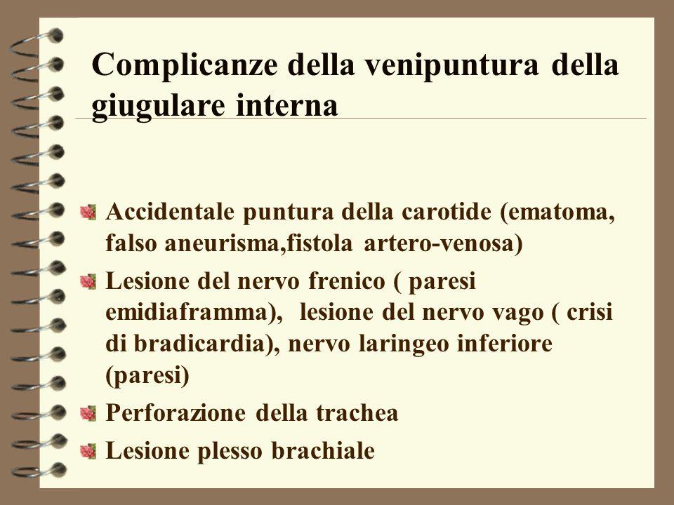 Complicanze della venipuntura della giugulare interna