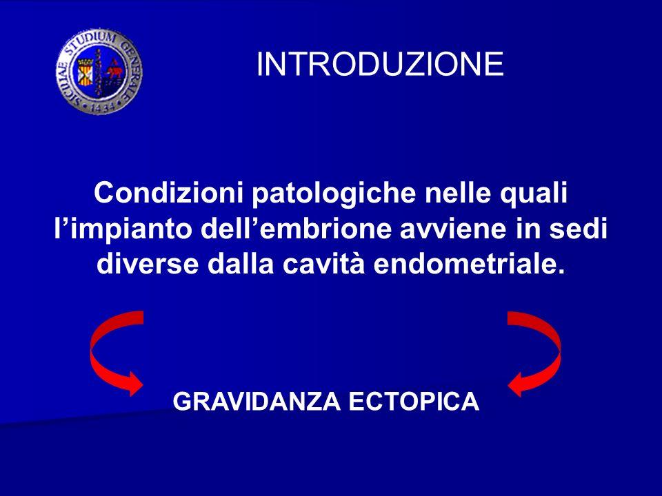 INTRODUZIONE Condizioni patologiche nelle quali l'impianto dell'embrione avviene in sedi diverse dalla cavità endometriale.