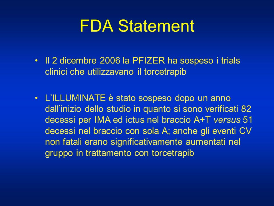 FDA Statement Il 2 dicembre 2006 la PFIZER ha sospeso i trials clinici che utilizzavano il torcetrapib.