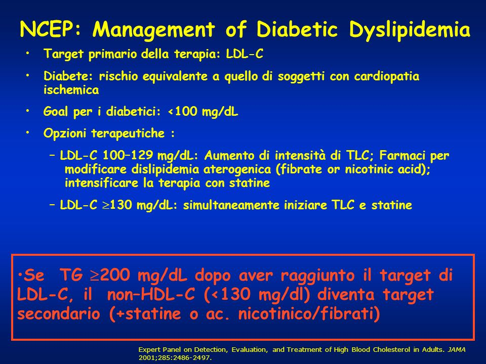NCEP: Management of Diabetic Dyslipidemia