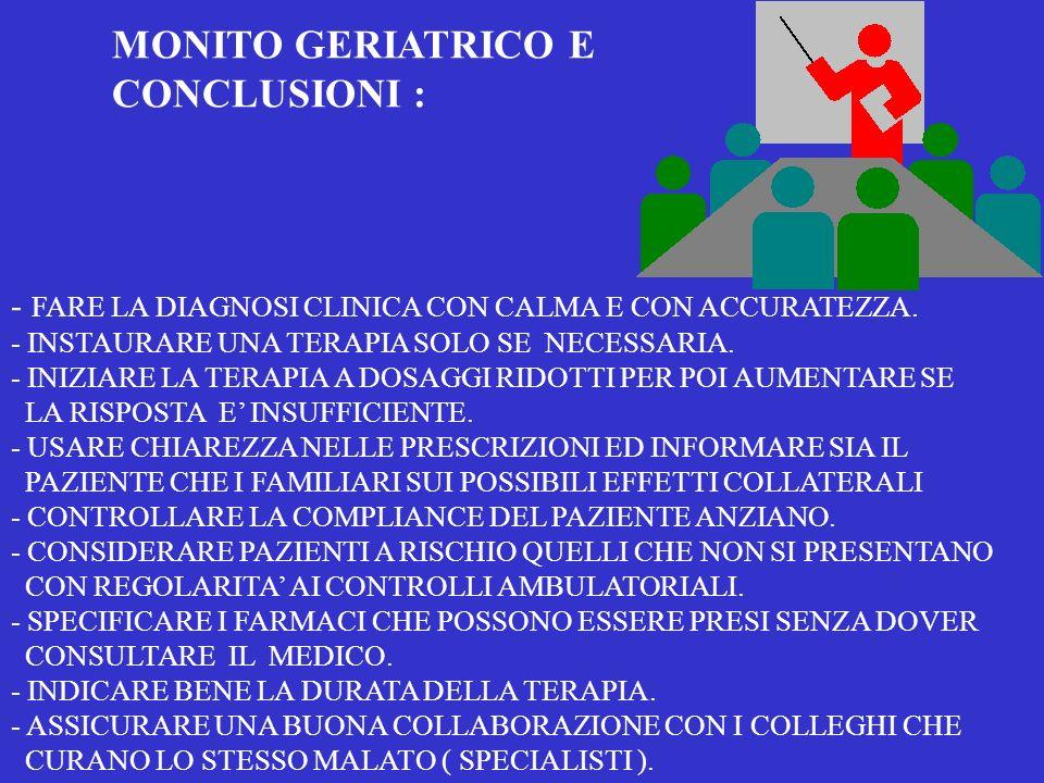 MONITO GERIATRICO E CONCLUSIONI :