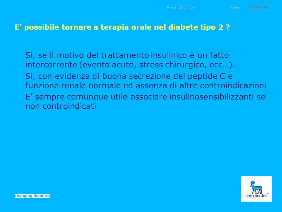 E' possibile tornare a terapia orale nel diabete tipo 2