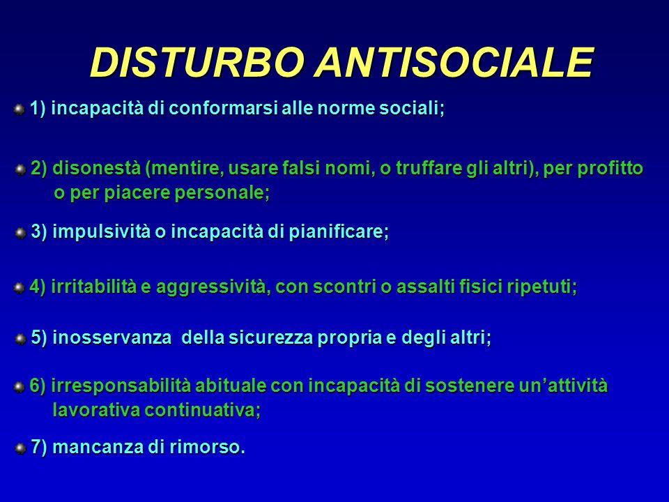 DISTURBO ANTISOCIALE 1) incapacità di conformarsi alle norme sociali;