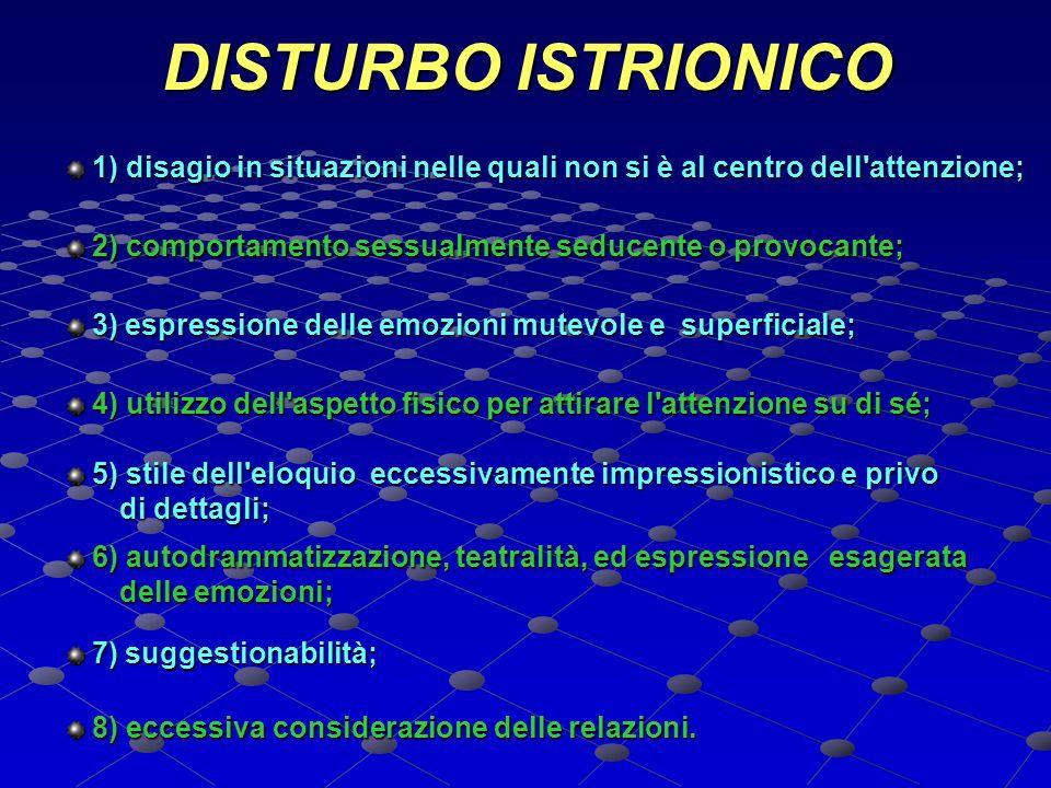 DISTURBO ISTRIONICO 1) disagio in situazioni nelle quali non si è al centro dell attenzione; 2) comportamento sessualmente seducente o provocante;