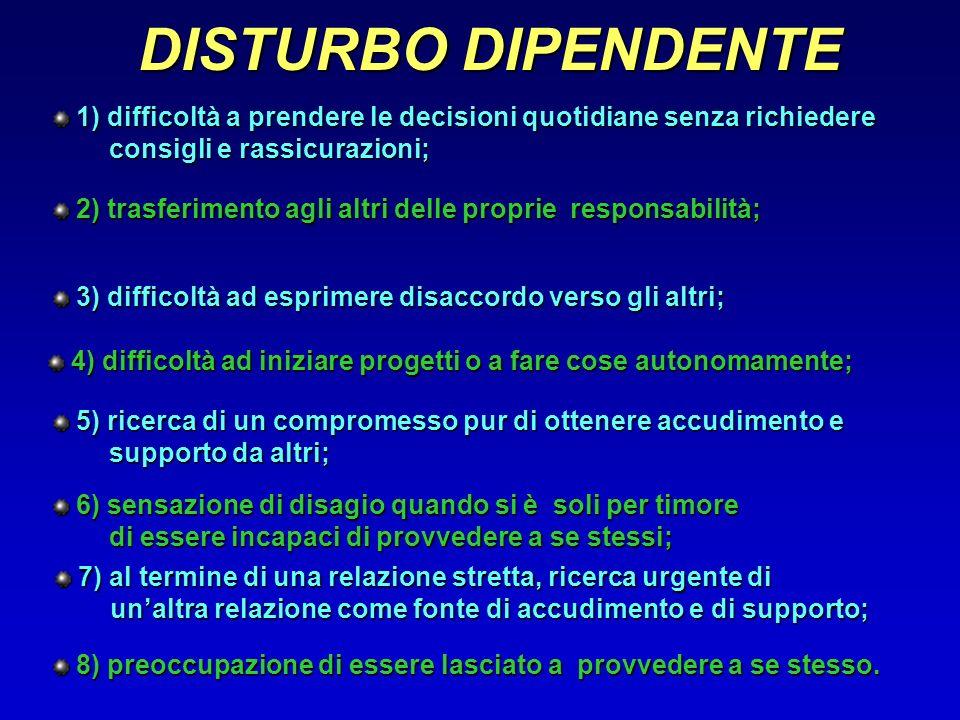 DISTURBO DIPENDENTE 1) difficoltà a prendere le decisioni quotidiane senza richiedere. consigli e rassicurazioni;