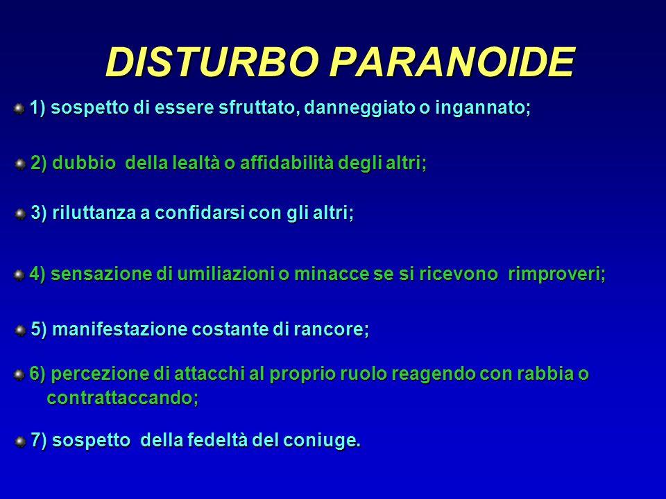 DISTURBO PARANOIDE 1) sospetto di essere sfruttato, danneggiato o ingannato; 2) dubbio della lealtà o affidabilità degli altri;