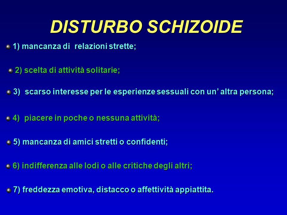 DISTURBO SCHIZOIDE 1) mancanza di relazioni strette;