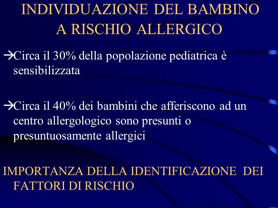 INDIVIDUAZIONE DEL BAMBINO A RISCHIO ALLERGICO