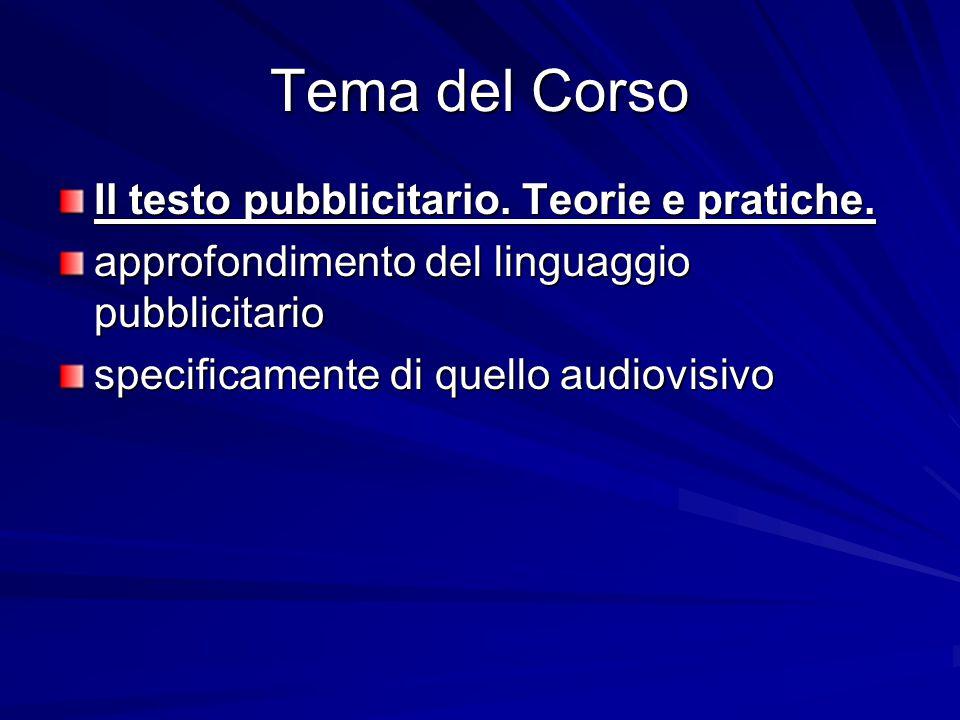 Tema del Corso Il testo pubblicitario. Teorie e pratiche.