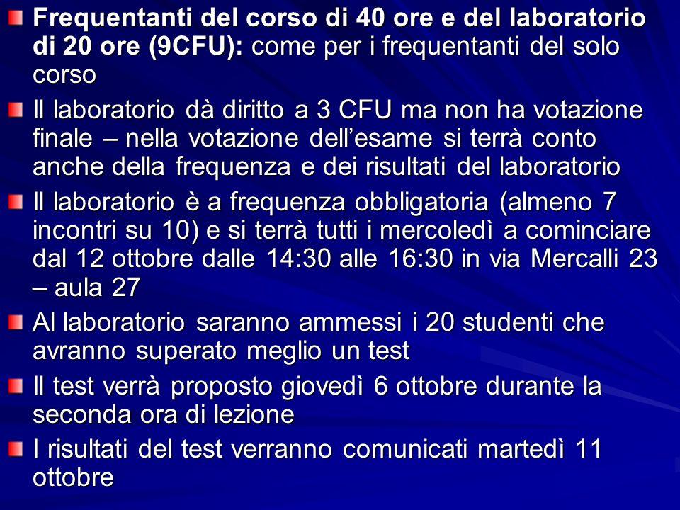 Frequentanti del corso di 40 ore e del laboratorio di 20 ore (9CFU): come per i frequentanti del solo corso