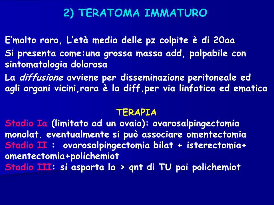 2) TERATOMA IMMATUROE'molto raro, L'età media delle pz colpite è di 20aa.