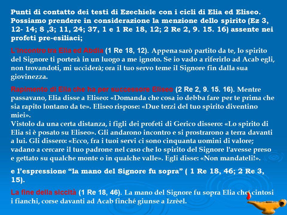 Punti di contatto dei testi di Ezechiele con i cicli di Elia ed Eliseo