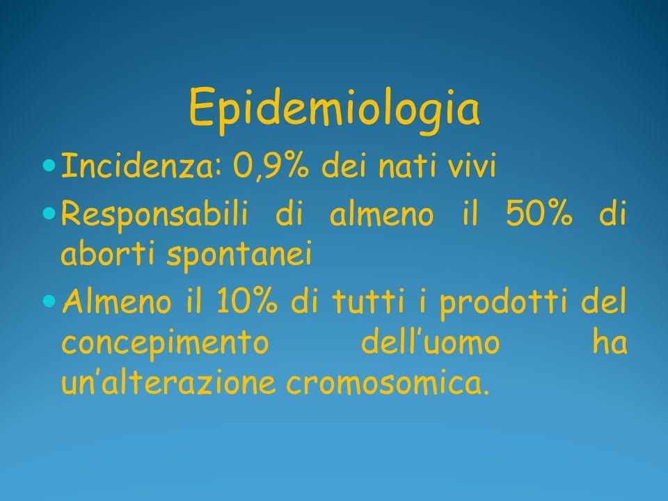 Epidemiologia Incidenza: 0,9% dei nati vivi