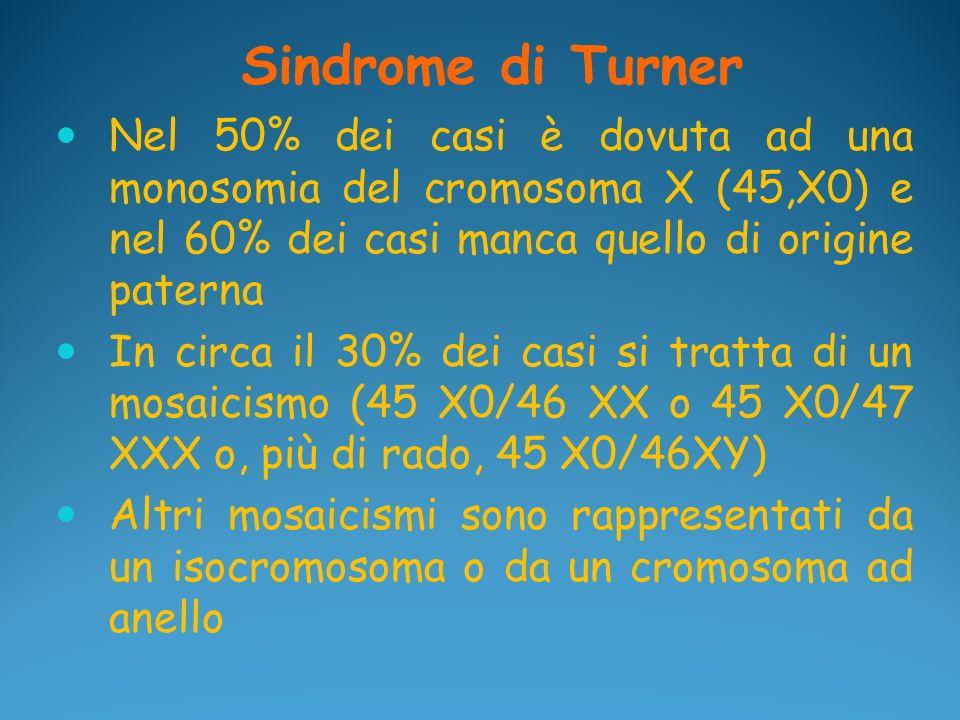Sindrome di Turner Nel 50% dei casi è dovuta ad una monosomia del cromosoma X (45,X0) e nel 60% dei casi manca quello di origine paterna.