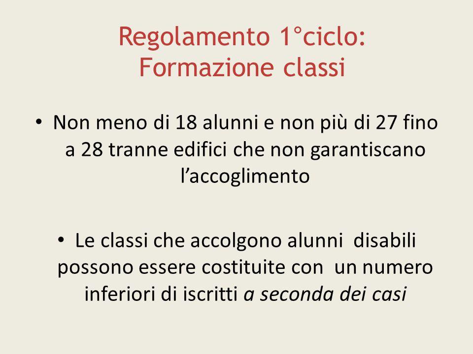 Regolamento 1°ciclo: Formazione classi