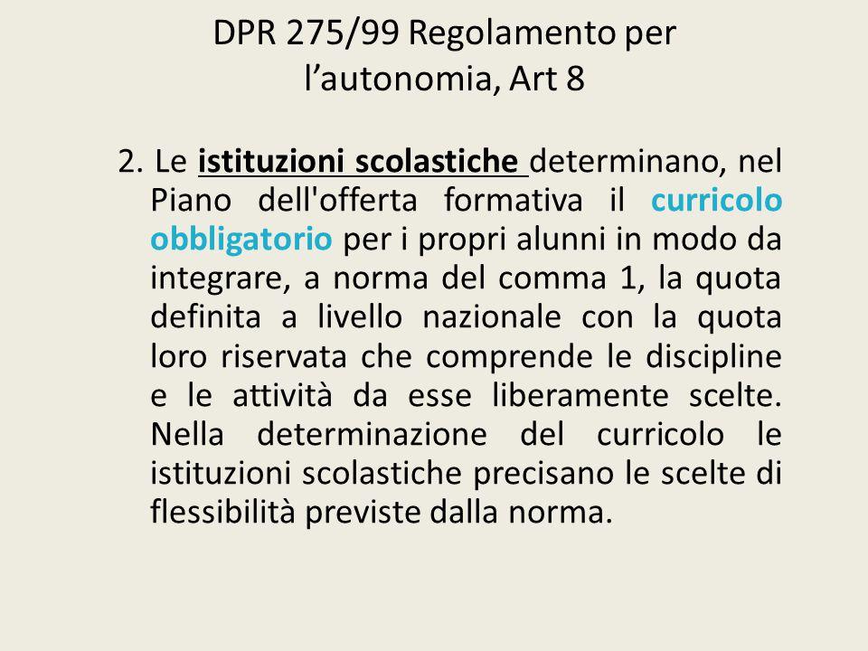 DPR 275/99 Regolamento per l'autonomia, Art 8