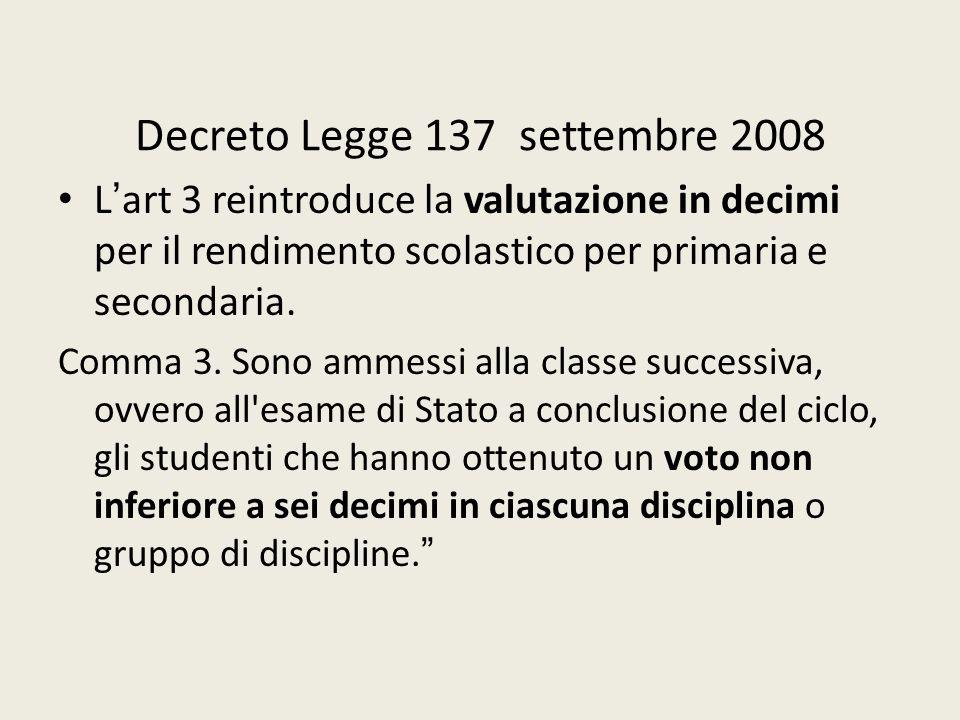 Decreto Legge 137 settembre 2008